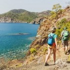 Hikers following a coastal trail on the Lycian Way