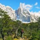 Hiker walking towards Cerro Torre in Los Glaciares National Park