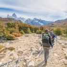 Hikers walking towards Fitz Roy mountain in Los Glaciares National Park