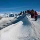 Hikers on Perito Moreno glacier in Los Glaciares National Park