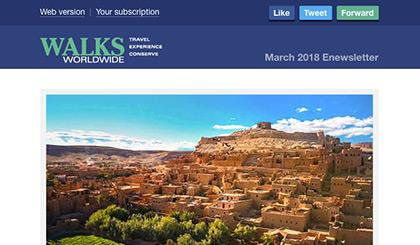 Screenshot of the header area of a recent Walks Worldwide e-newsletter.