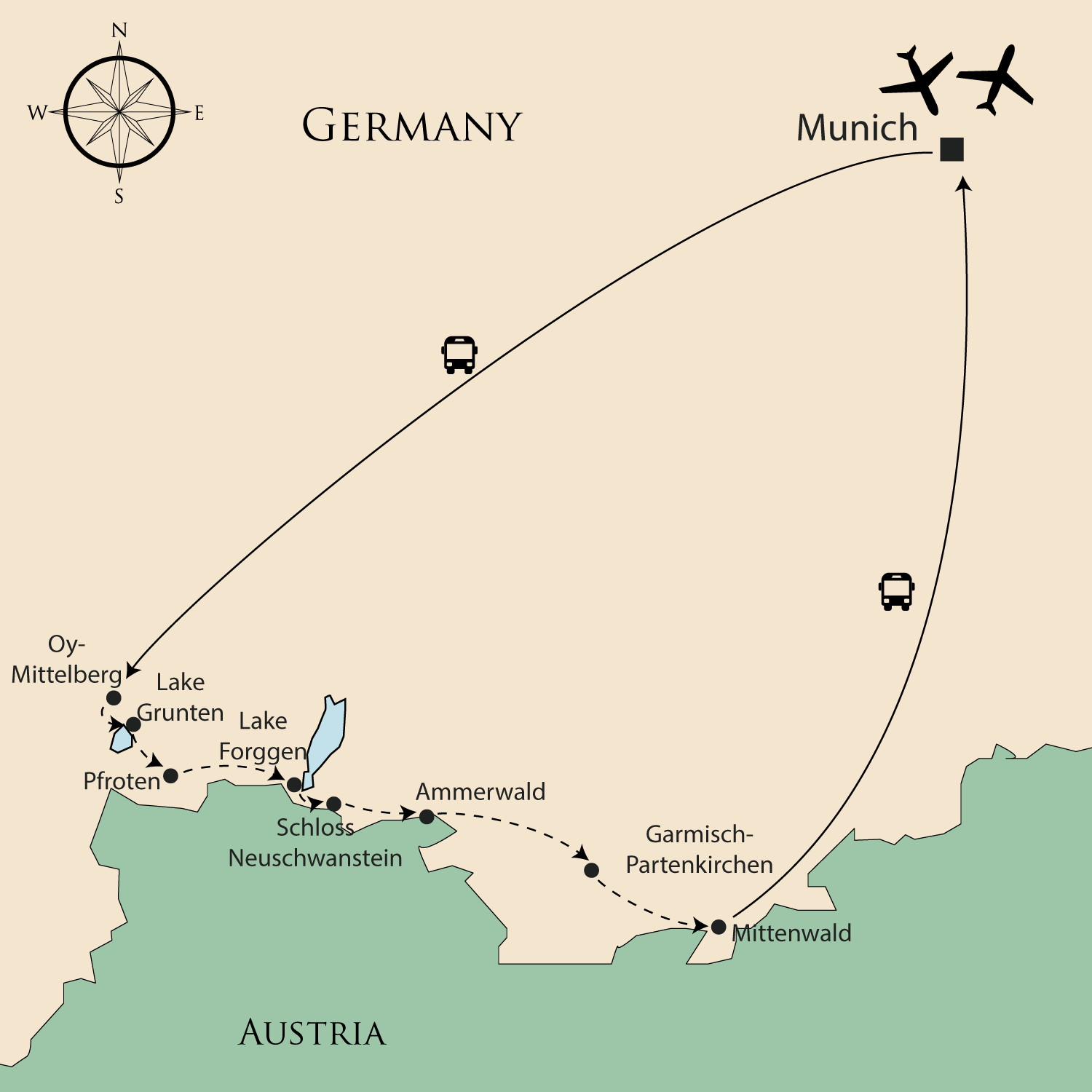Map Of Germany Garmisch.Walking Holiday In Germany Bavarian Alps In Style Self Guided
