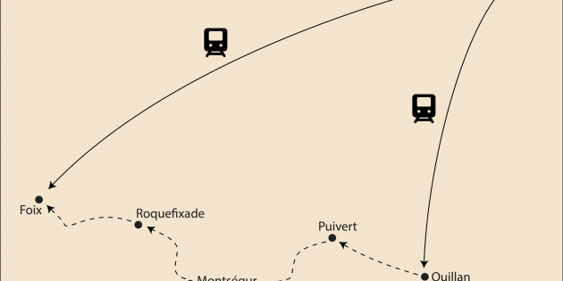 Route map for <span>Footsteps of the Cathars: Quillan to Foix</span>