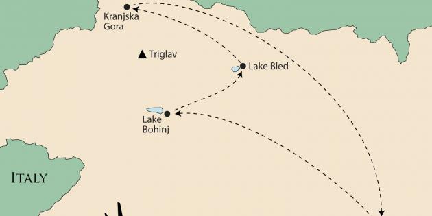 Route map for <span>Slovenia's Lakes & Mountains</span>