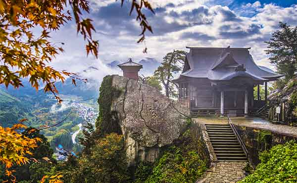 View of Yamadera Temple over the mountains at Yamagata