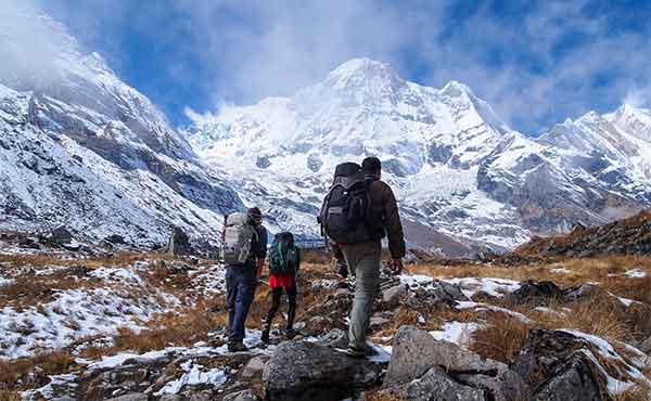 Trekkers on Annapurna Sanctuary Lodge trek in the Nepalese Himalayas