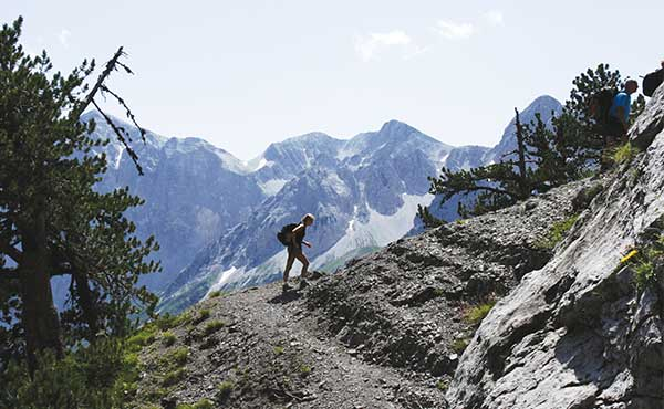 Trekkers at Valbona Pass Albania