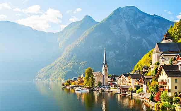 Beautiful alpine village of Hallstatt in Salzkammergut Austria