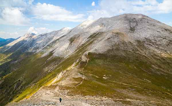 Hiker in the Pirin mountains in Bulgaria