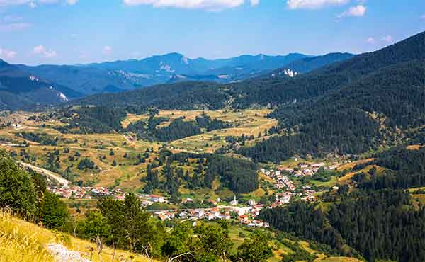 Scenic view of a village in the Rhodope Mountains of Bulgaria
