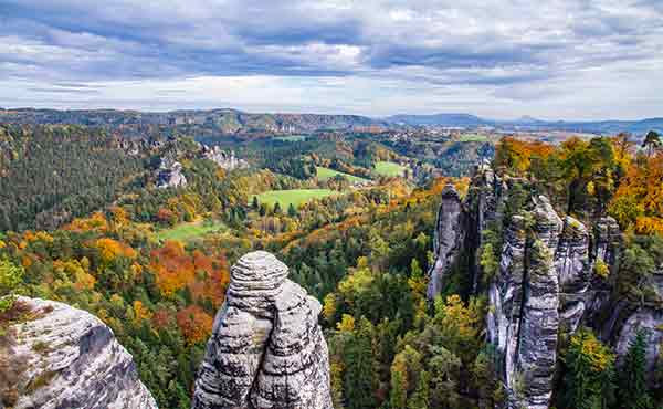 Sandstone rocks of Bastei in Saxon Switzerland National Park