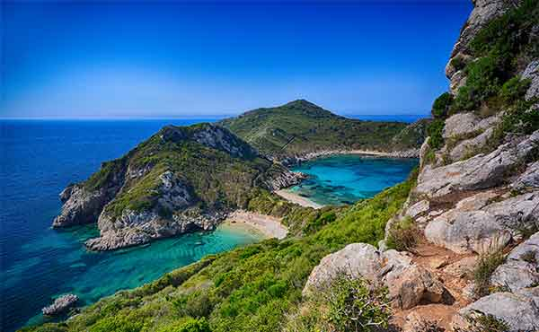View of Agios Georgios Beach on the Greek island of Corfu