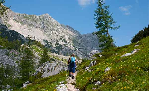 Hikers in Triglav National Park in Slovenia