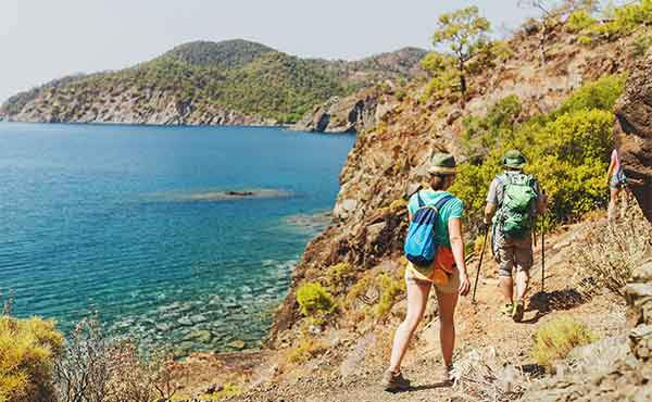 Hikers following the coastal trail on the Lycian Way